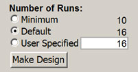 Design of experiments number of runs in JMP software