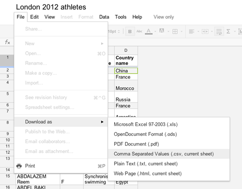 Import data in JMP from Google Docs