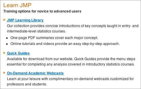 JMP Academic Resources page