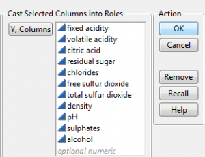 Select the wine quality variables to cluster