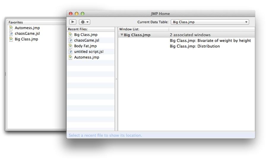 JMP Home Window for Mac OS X