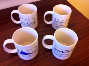 Set of four JMP statistics mugs