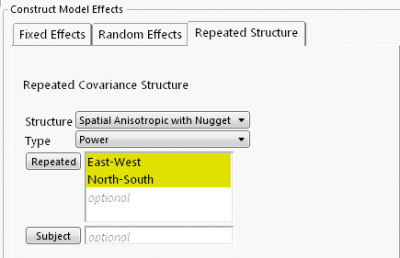Spatial anisotropic power with nugget