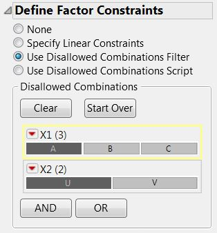 Disallowed Combinations wizard is based on the Data Filter interface.