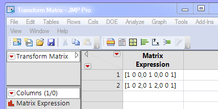 Data table with expression column showing a three by three matrix on each row.