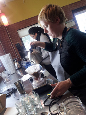 Baristas at Counter Culture Coffee in Durham, NC, helped with our coffee experiment.