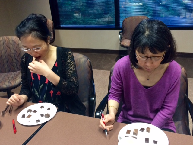 Two of our test subjects, pondering the mysteries of chocolate.