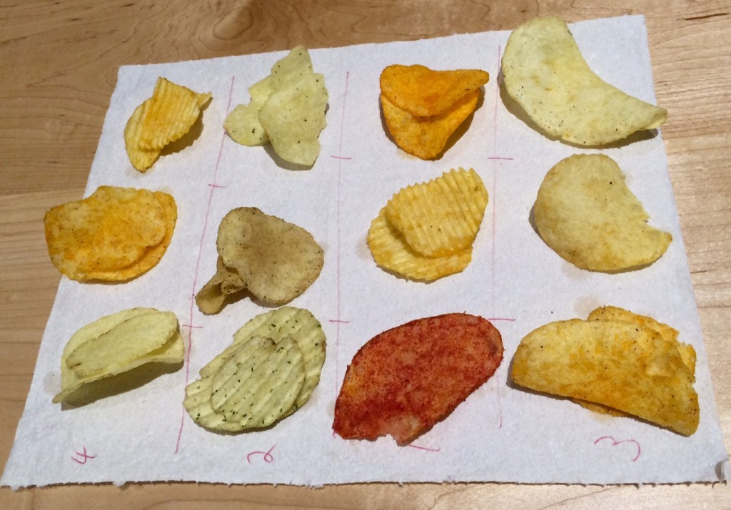 Four rows of three potato chips