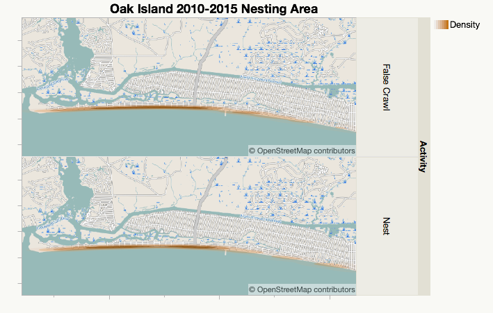 A density map of nesting at Oak Island