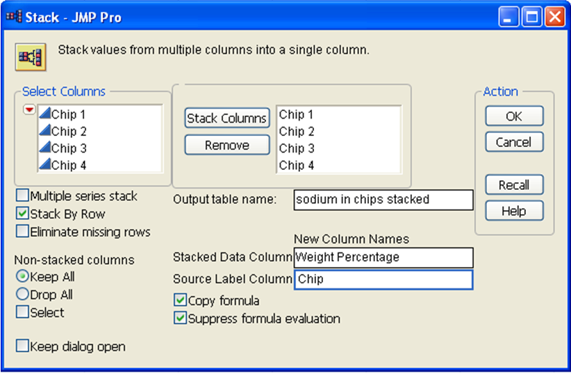 stack platform - choose columns and set output table