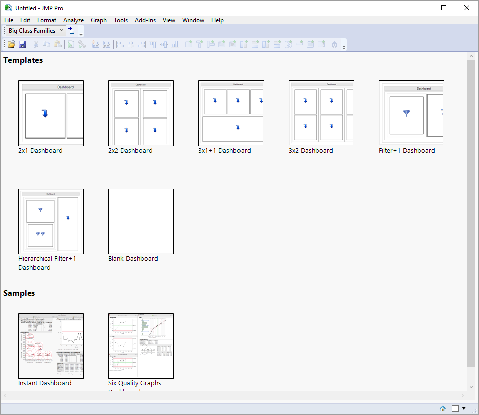 Templates in Dashboard Builder in JMP 13