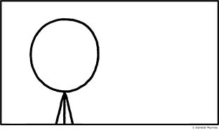 Simple comic drawing of Randall Munroe