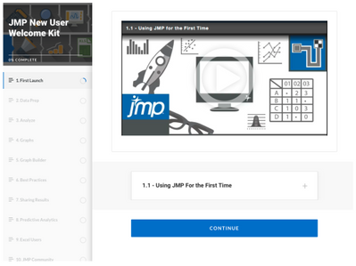 The New User Welcome Kit will give you an excellent foundation for working with JMP. It's one of many resources useful for learning JMP.