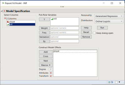 Launch Genreg from the Fit Model dialog in JMP Pro.