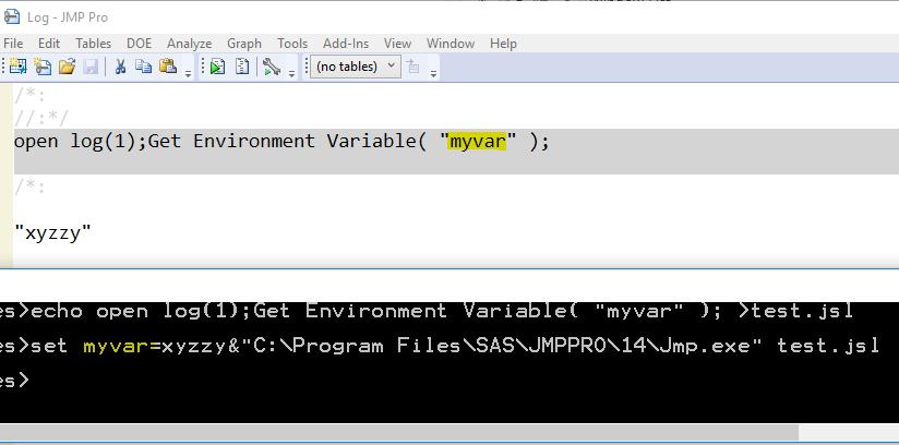 Pass an environment variable to JMP