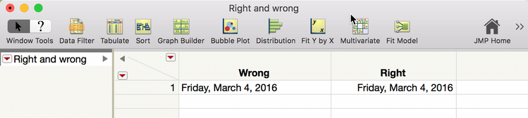 Wrong is a character column. Notice it is left-justified. Right is numeric column. It is right-justified.