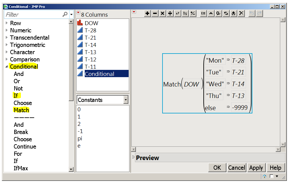 The Formula Editor has a list of functions