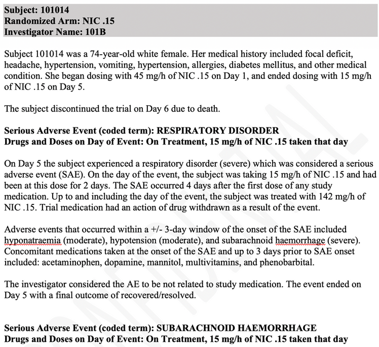 "Example of an adverse event narrative in JMP Clinical using the ""by subject"" template"