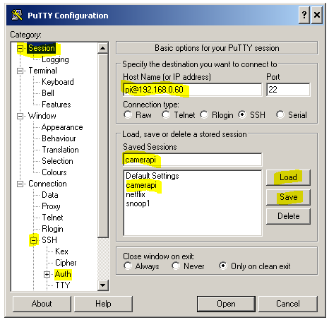 PuTTY dialog high lighting load/save sessions and Auth