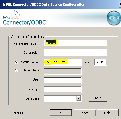 The ODBC Connector dialog supplies some information that can be overridden later