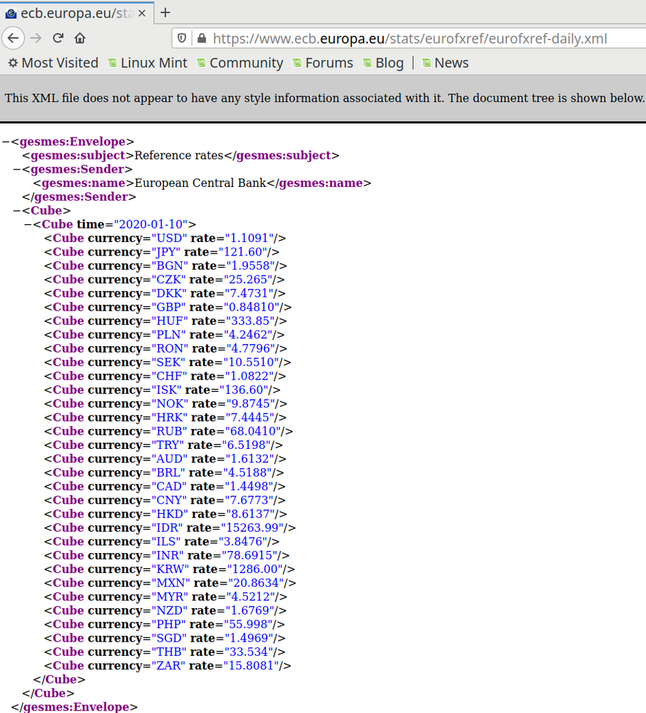 screenshot of FireFox showing an XML file of exchange rates
