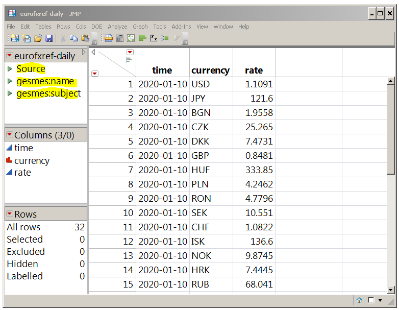 The source script and the two table variables are part of the imported table