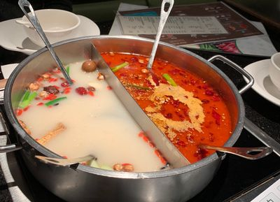 The heavenly elixir that is Mongolian Hot Pot.  The stuff on the right is super spicy, the stuff on the left, not so much.