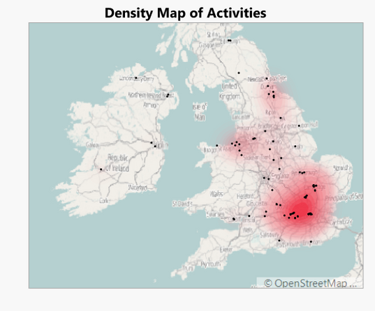 Plot of all my exercise activities when travelling for work in the UK and Ireland. Density plot overlaid.
