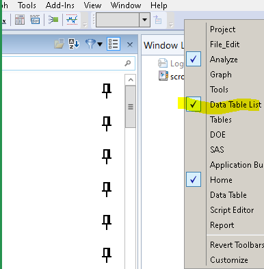 pop-up menu for toolbar; drag the dotted handle to arrange segments