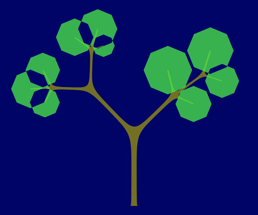 The overlapping leaves show the odd/even effect of crossing paths.