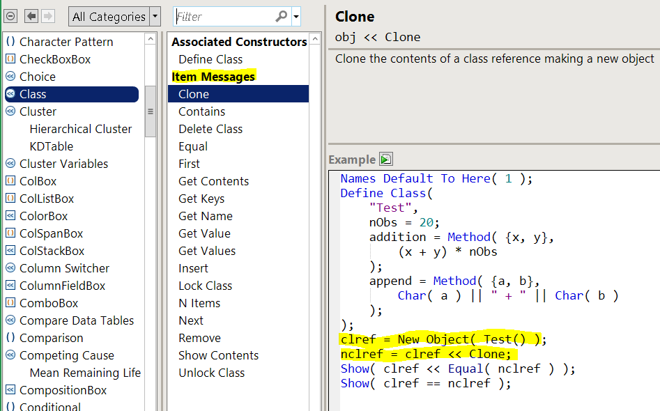 Scripting index showing messages that can be sent to a class instance