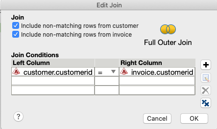 Full outer join edit join select non-matches from both table