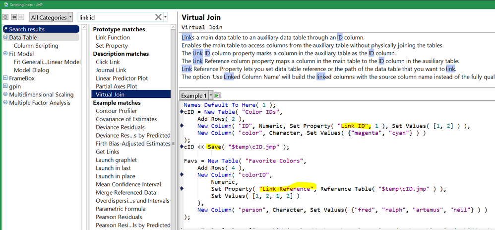Virtual Join in the Scripting Intex. Notice the Example 1 button is a pull down menu with other examples.