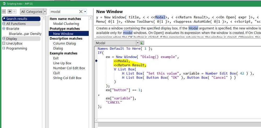 modal dialog in scripting index
