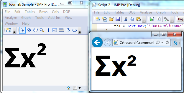 Unicode characters in JMP and a web browser(Internet Explorer)