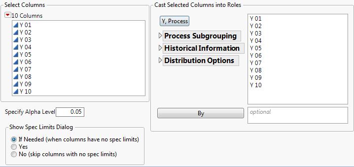 Figure 2: Process Capability dialog
