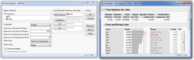 Figure 3. Text Explorer launch window (left) and initial report from launching Text Explorer (right).