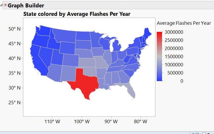 Average lightning strikes per year by state