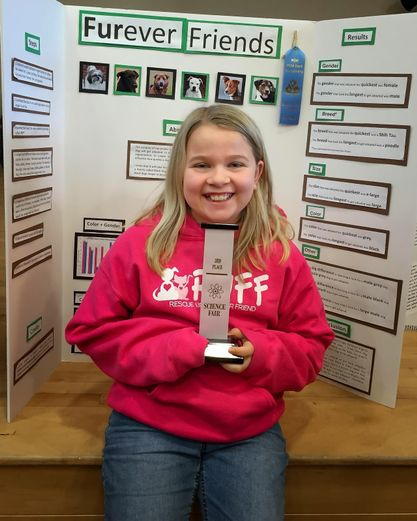 Carah Gilmore entered her school's science fair competition and advanced to higher levels with her project analyzing data about pet adoptions. (Images courtesy of Ryan Gilmore)
