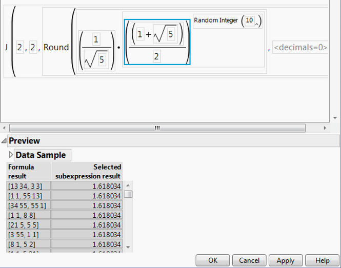 Get a preview of results in Formula Editor in JMP 14 -- before you click OK or Apply.