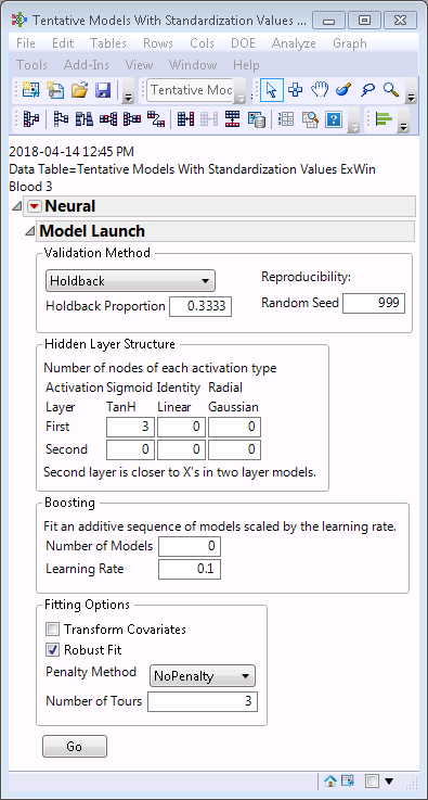 Set up of model from Analyze>Predictive Modeling>Neural