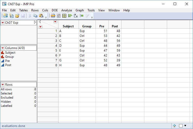 Figure 1: Example Data Table in Wide Format
