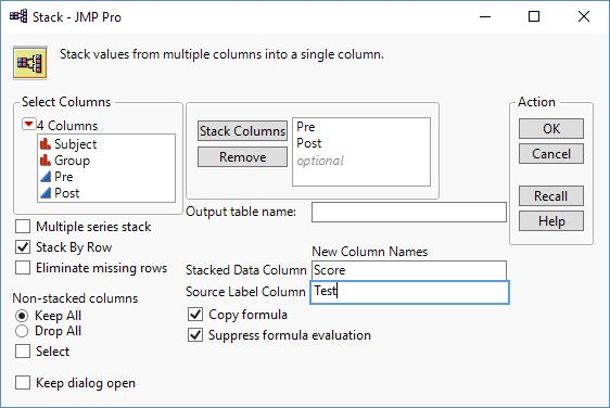 Figure 2: The Stack Dialog
