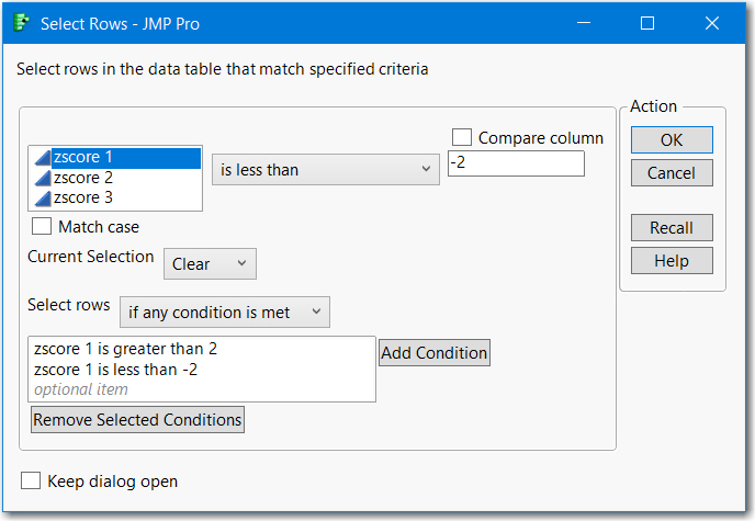 Conditional Row Selection - Or condition