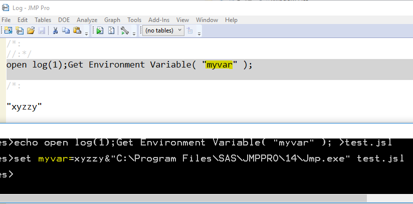 Pass an environment variable to JMP