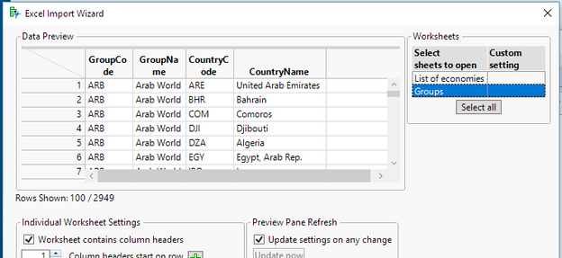 Preview of Groups Table in Excel File