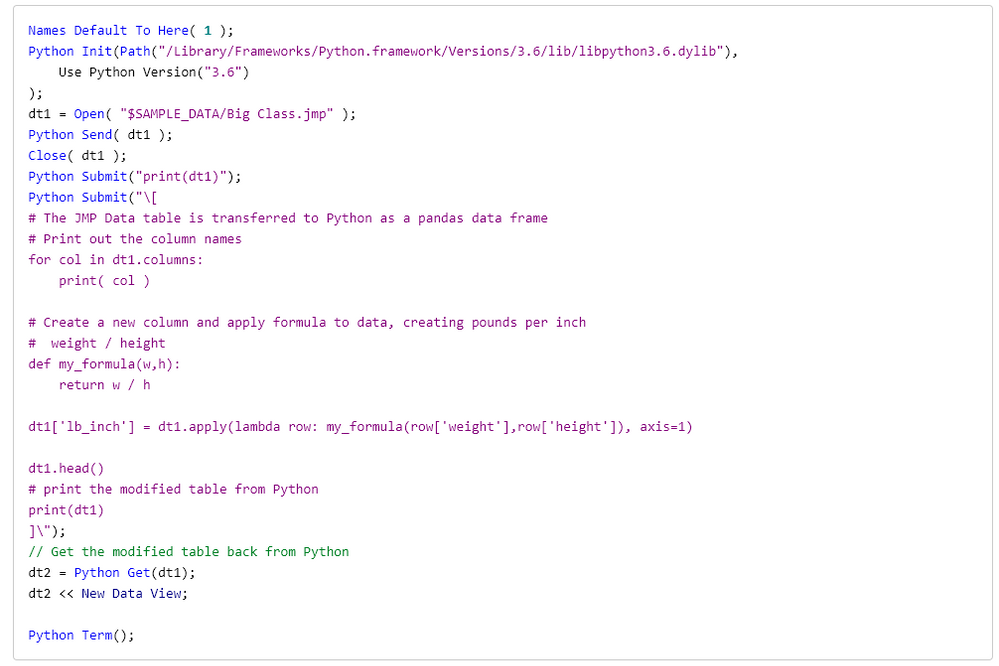 Modify a JMP data table in Python