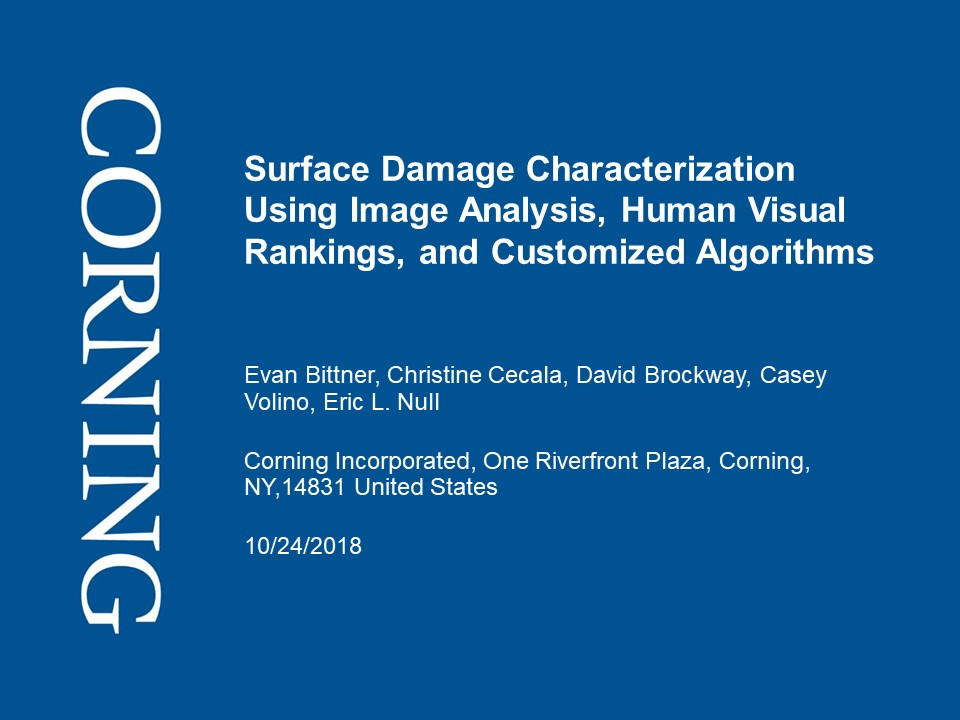 Surface Damage Characterization Using Image Analysis, …