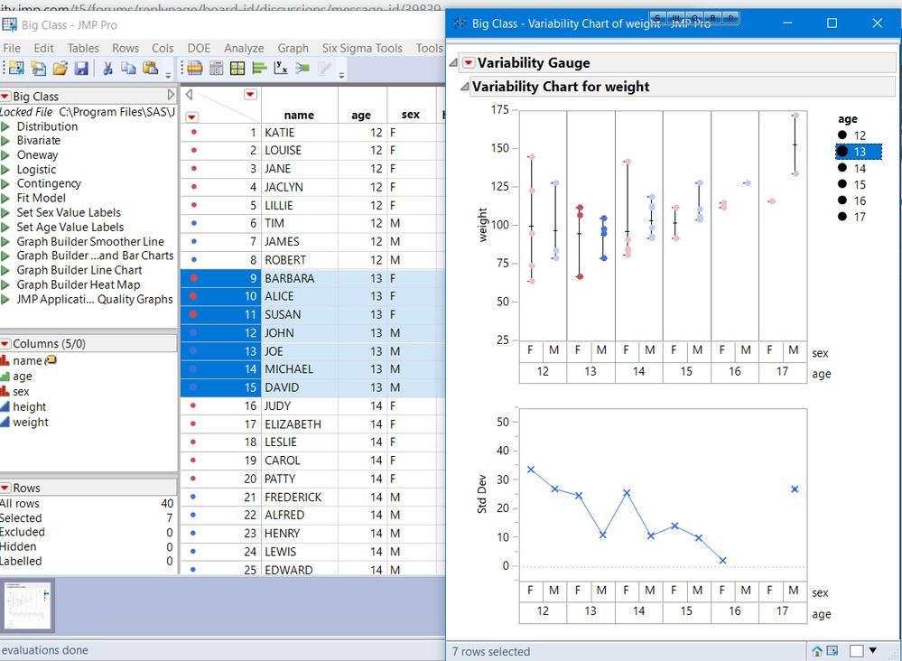 Variability plot legend not linking to data table - JMP User