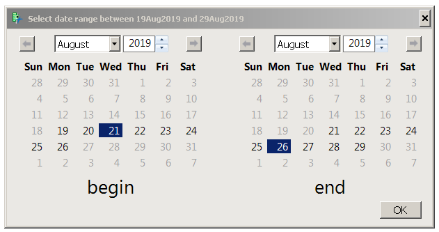 Linked calendar boxes